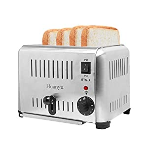 Huanyu 4-Slice 1800W Commercial Toaster Stainless Steel 5 Gears 4 Slot Electric Automatic Toast Oven Household Breakfast…