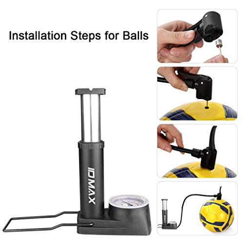 Bike Foot Pump, WEIDMAX Portable Bicycle Pump with Pressure Gauge Bike Floor Pump Mini Hand Foot Activated Tire Air Pump with Inflation Needle and Inflatable Device Universal Presta & Schrader Valve