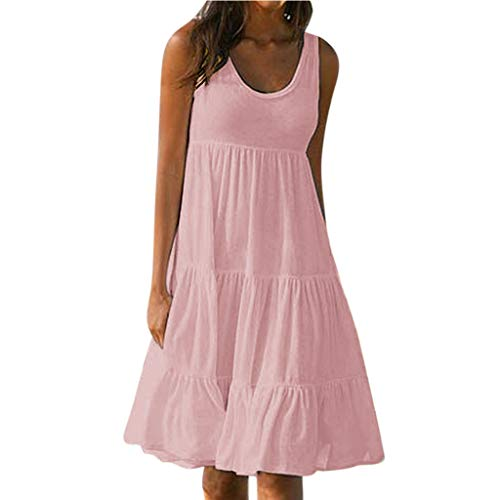 Fghyh Freizeitkleider für Damen, Ärmellos Schlüsselloch Saum Lose Einfarbig Lässig Sommerkleider Strandkleid Minikleid(L, Rosa)