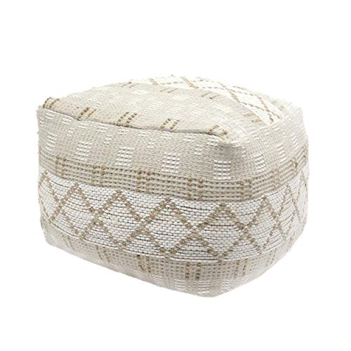 Christopher Knight Home Mag Large Square Casual Pouf, Boho, Ivory Chindi and Hemp