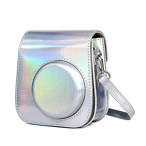 Colorido estuche para cámara compatible con Fujifilm Instax Mini 11, Mini 8, Mini 8+, Mini 9 Instax Camera PU Funda protectora de cuero ajustable correa de hombro bolsa (plata colorida)