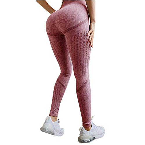HPPL Naadloze Tummy Control Yogabroek Rekbare Compressie Panty Hoge Taille Sportbroek Push Up Running Dames Gym Fitness Leggings, Roze, S
