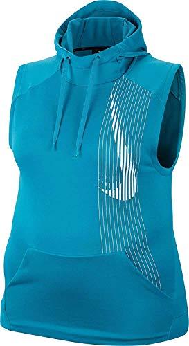 Nike Men's Dri-FIT Sleeveless Hoodie - Spirit Teal/White, Large