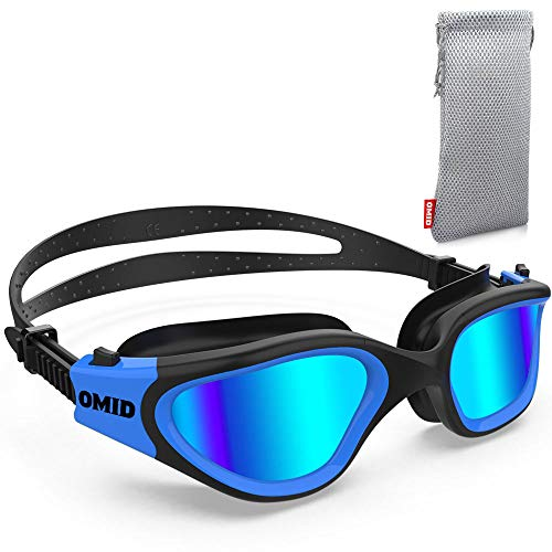 Swim Goggles OMID Comfortable Polarized Swimming Goggles AntiFog Leak Proof UV Protection Crystal Clear Vision Triathlon Swim Goggles with Protective Bag for Men Women Adult Youth Teens