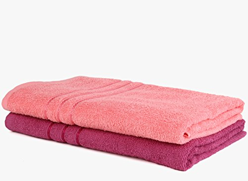 Bombay Dyeing Cotton Bath Towel 450 GSM (Set of 2, Pink)