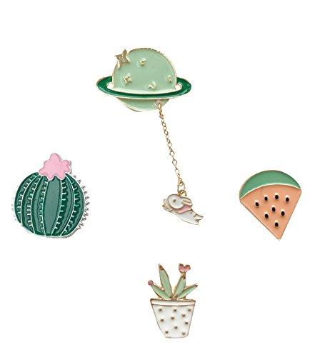 Beyond Brosche/Anstecknadel/Pins aus Metall - 4 Stück Set - Planet, Kaktus, Wassermelone, Blumentopf