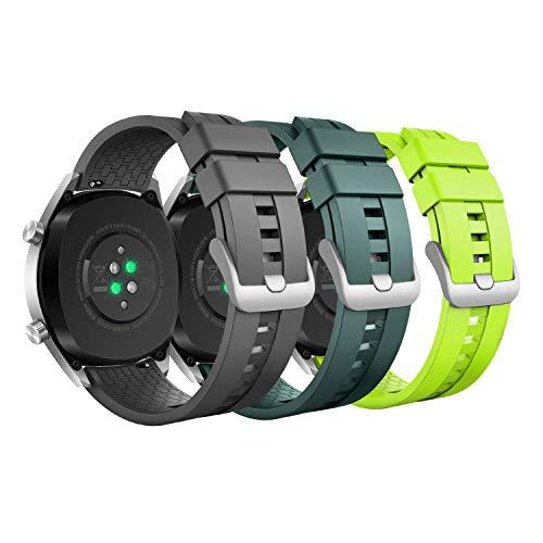 MoKo Armband Kompatibel mit Huawei Watch 3/3 Pro/GT2 Pro/GT2e/GT2/GT 46mm/Galaxy Watch 3 45mm/Galaxy Watch 46mm/Gear S3/Ticwatch Pro 3, 3 Pack 22mm Silikon Ersatzarmband - Grau/Armee Grün/Limone