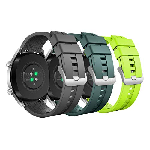MoKo Armband Kompatibel mit Galaxy Watch 3 45mm/Galaxy Watch 46mm/Gear S3 Classic/S3 Frontier/Huawei Watch GT/GT 2 46mm/GT 2e/Ticwatch Pro, 3 Pack 22mm Silikon Uhrband - Grau/Armee Grün/Limone