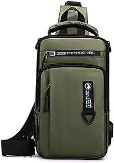 حقيبة صدر و ظهر وكتف كروس مقاومة للماء مع حزام ثنائي و مخرج يو اس بي - ذهبي