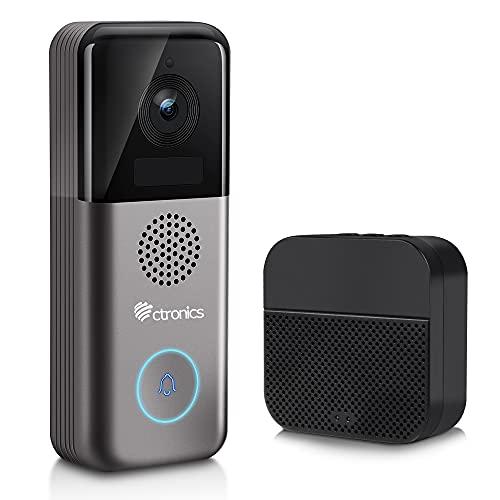 Ctronics WiFi Videocitofono 2K HD, Wireless Chime Doorbell Camera 10000mAh Batteria Ricaricabile, Rilevamento Umano PIR, Connessione WiFi Avanzata, Due vie Audio, Supporto SD Card, IP66 Impermeabile.