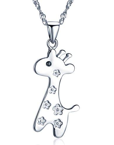 Unendlich U Fashion Damen Halskette Süß Hirsch Giraffe Kitze Anhänger 925 Sterling Silber Kettenanhänger