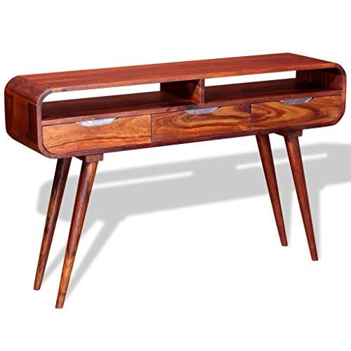 vidaXL Table Console Table de Présentation Bois de Sheesham Massif 120x30x75 cm