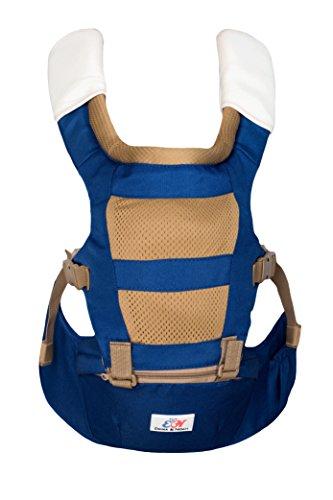 Premium Ergonomische Babytrage, 6-36 Monate, 4-in-1, Hoher Tragekomfort, Entlastung Rücken, Orthopädisch Geprüft, Kindertrage, Tragegurt, Carrier, Tragetasche, Hüftsitz, Farbe: Blau von emma & noah