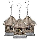 vidaXL 3X Casas para Pájaros Mimbre Pajarera Ratán...