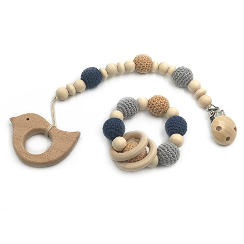 Wendysun Wooden Baby Teether Rings Wooden Animal Pacifier Clips Organic Wood Montessori Toys Crochet Beads Teether Infant Teether Toys (Bird)