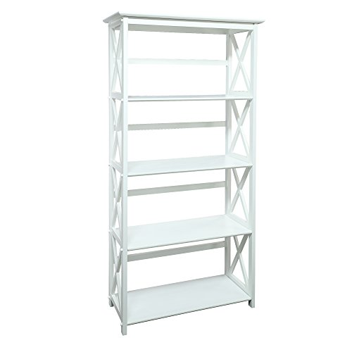 Casual Home Montego Bookcase, 5-Shelf, White,324-51