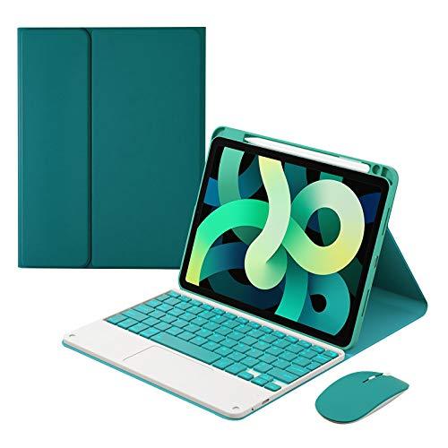 HaoHZ Funda Teclado para iPad Air 4 Gen 10,9 2020 - Teclado Bluetooth Inalámbrico Desmontable con Retroiluminación de 7 Colores con Panel Táctil, Ratón Bluetooth,Deep Green,7 Color Backlit