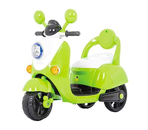 Mediawave Store Scooter 6V 3 Ruote per Bambini GV-52 con luci Suoni e Cintura di Sicurezza (Verde)