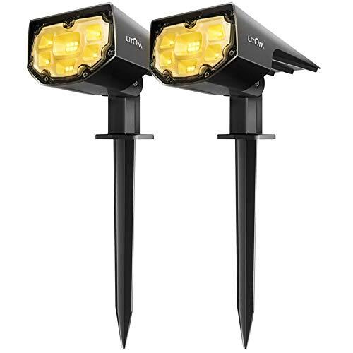 Faretti Solari Esterno Bianchi Caldi Lampade Solari Luci Solari Giardino, 2 Livelli di Luminosità, 12 LED, Protezione IP67, Illuminazione da Giardino per Alberi, Cespugli, Percorso Bianco Caldo