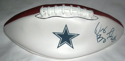 Dez Bryant Autographed Dallas Cowboys Logo Football W/PROOF, Picture of Dez Signing For Us, Dallas Cowboys, Oklahoma State Cowboys, 2010 NFL Draft