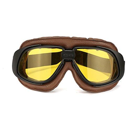 Alamor Motos Retro Gafas De Vuelo Scooter Casco A Prueba De Viento Gafas Anti-UV Marco Marrón-Amarillo