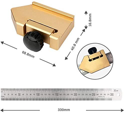 CestMallスチール定規ストッパー位置決めブロックスコヤ直尺45度90°木工スクライバー分度器ゲージアルミ製固定定規DIY木工大工測定およびマーキング調整可能(30cm)
