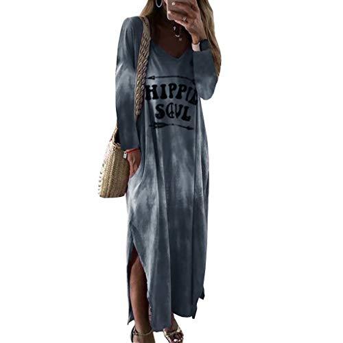 Damen Große Größe Langes Kleid Hippie Soul Gedruckt Kleider für Strand, Urlaub, Damen Langarm Casual Lose Kleider mit Taschen für Party, Übergröße S-2XL Gr. XXL, grau