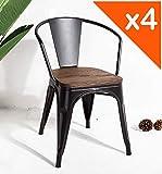 Kosmi - Lot de 4 chaises en métal Noir et Bois foncé Style Industriel Factory en métal Noir Mat, Assise en Bois foncé et accoudoirs