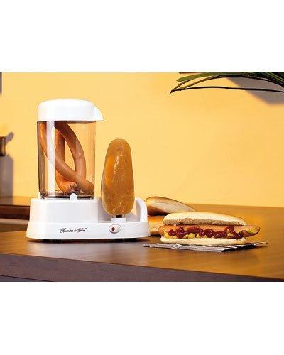 Rosenstein & Söhne Hot Dog Maschine: Hotdog-Maker mit beheizbarer Stange aus rostfreiem Edelstahl, 350 Watt (Bockwurstkocher)