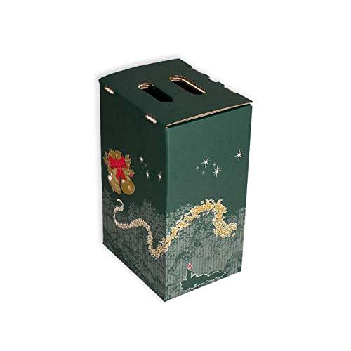 Pack 20 Cajas para lote navideño. Capacidad 4 botellas +Lote. Caja de Canal Doble con asa. 235 X 180 X 365mm
