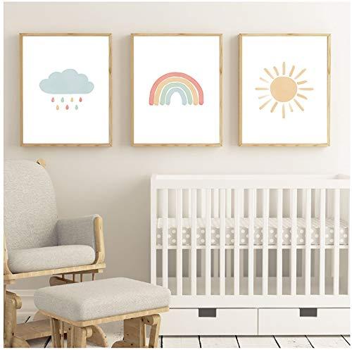 JinYiGlobal Wandkunst Leinwand Malerei Regenbogen Aquarell Kinderzimmer Cartoon Bilder Baby Kinderzimmer Dekor Poster und Drucke-40x50cm (15.7