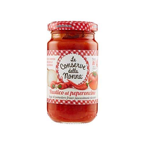 Le Conserve della Nonna- Salsa Rústica al Peperoncino - Salsa de Tomate con Chile Picante- 100 % Producto Italiano - Ideal para Mejorar Tus Pastas- 190 Gramos
