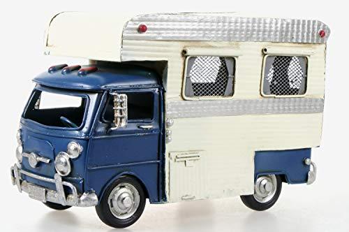 Schick-Design Wohnmobil aus Metall 26 cm mit Spardose Camper Auto Oldtimer Nostalgie Wohnwagen Camping Caravan Sparbüchse (blau)