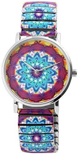 Excellanc Damen – Uhr Zugband Metall Armbarmbanduhr mit Muster Analog Quarz 1700035 (Hellblau/Lila)