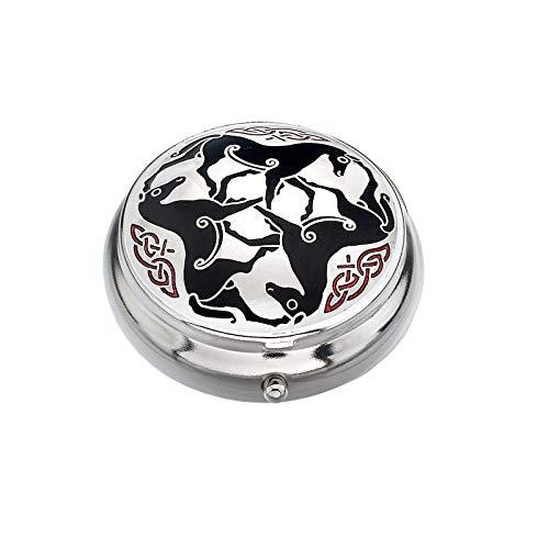 Sea Gems Pastillero Chapado en Plata Celta Caballo Caballos Negro Caja