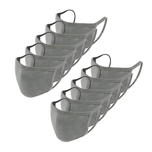 BINMUO 10 Stück Mundschutz Erwachsene Outdoor Staubdicht Stoffmaske, Einfarbig Verstellbarer Hängendes Atmungsaktive Bandanas Halstuch Schlauchtuch für Jungen und Mädchen (C)