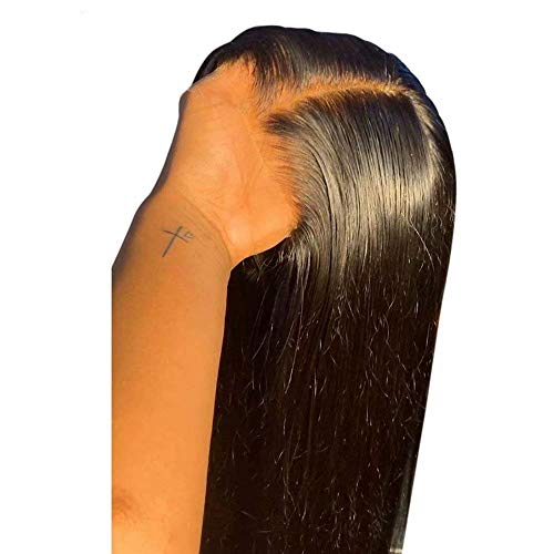 QUINLUX Hair HD Invisible Straight 13X6 Lace Frontal Human Hair Wigs Pre plucked with Bleached Knots for Woman 150% Density Glueless Full End Wig Brazilian Remy Hair 22Inch