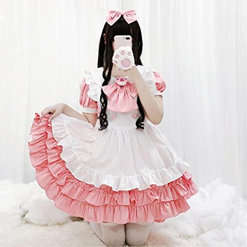 Disfraz de Cosplay de Anime Lindo Vestido de mucama Rosa Kawaii Pin de Mariposa con Uniforme de Club de Bar de caf Sexy Femenino