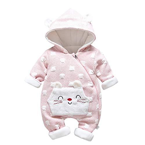 H.eternal(TM) - Mono con Capucha para recién Nacido, para bebés, niños y niñas, Ropa Gruesa para niños Rosa Rosa M