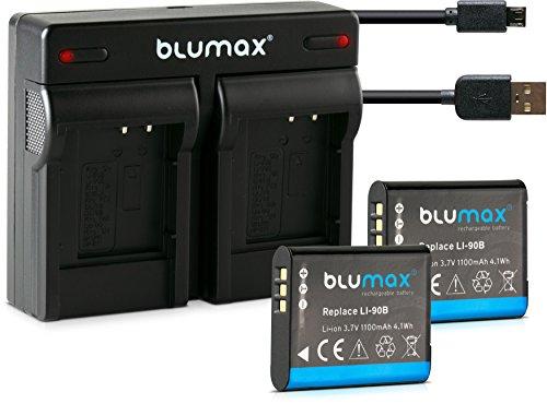 Blumax 2X Akku für Olympus Li-90b / Li-92b 1100mAh + Dual-Ladegerät USB   ersetzt Olympus XZ-2 Tough TG-1 TG-2 TG-3 TG-4 TG-5 SH-50 SH-60 SP-100 EE Traveller SH-1 SH-2
