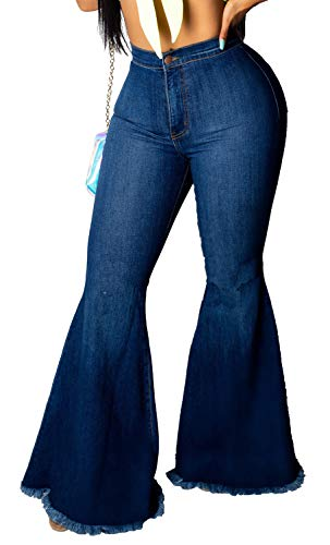 Skinny Ripped Bell Bottom Jeans for Women Classic High Waisted Flared Jean Pants (X-Large-1, Dark Blue)