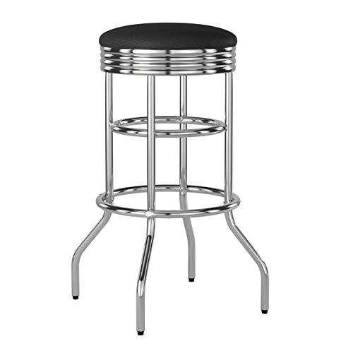 Trinity Chrome Swivel Barstool, 29-Inch, Black