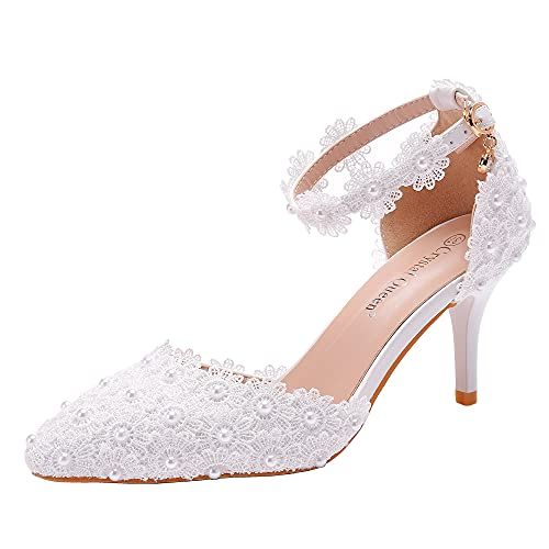 Crystal Queen Women High Heels White Lace Pearls Wedding Shoes