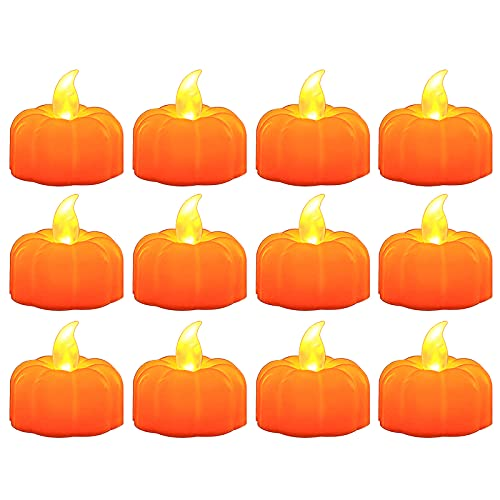 KHBNHJ 12PCS Flameless LED Tea Light Candles, LED Flickering Flameless Votive Tea Lights Candles for Halloween Christmas Wedding Party Decorations,A3