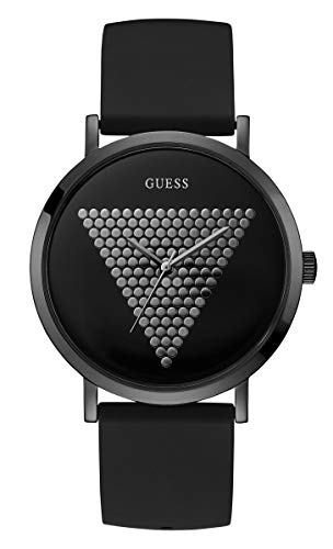 Guess Reloj de los hombres del dial negro del cuarzo de la impresión W1161G2