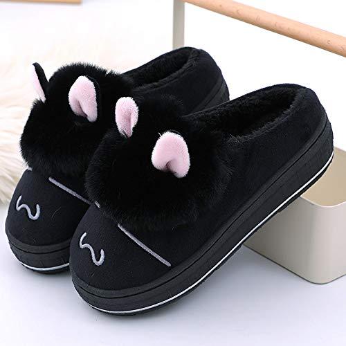 Hausschuhe Damen Baumwolle Slippers,Warme Baumwolle Schwarz Cartoon Tier Kaninchen High Heels Mute Closed-Toe Hausschuhe Indoor Outdoor Damen rutschfeste Sohle Gemütliche Futter Flaum Shose Für