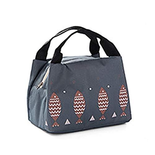 Fablcrew Sac à Déjeuner en Tissu Oxford Portable Sac Repas Lunch Bag Isotherme Thermique Isolé pour Panier-Repas Voyage Camper 21 * 15 * 17CM (Gris Foncé)