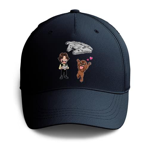 Cappello Blu Marino Parodia Star Wars - Caricature SD di Han Solo, Chewbacca e Il Falcon Millenium Mini Drone (Cappello di qualità Premium - Stampata in Francia - Taglia Unica Regolabile - RIF : 1096