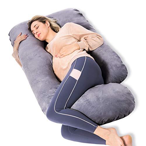 MOMCOZY 임신 베개 U 모양의 전신 출산 베개가있는 탈착식 커버 57 인치 임신 베개 자고 회색