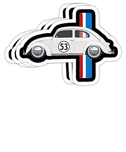 Mamy Dashy Classic Vintage Car Oldtimer 53 Bug Buggy Beetle Herbie Gift Decorations - 4x3 Vinyl Stickers, Laptop Decal, Water Bottle Sticker (Set of 3)